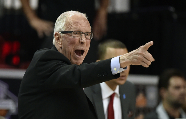 In this March 10, 2016, file photo, San Diego State coach Steve Fisher calls to his team during the second half of an NCAA college basketball game against Utah State at the Mountain West Conferenc ...