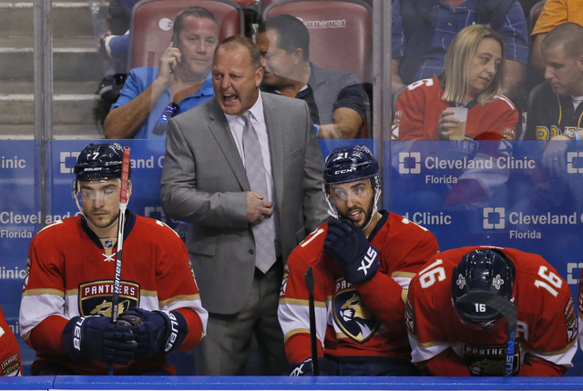 Florida Panthers head coach Gerard Gallant yells out during the first period of an NHL hockey game against Boston Bruins, Tuesday, Nov. 1, 2016, in Sunrise, Fla. (Wilfredo Lee/AP)