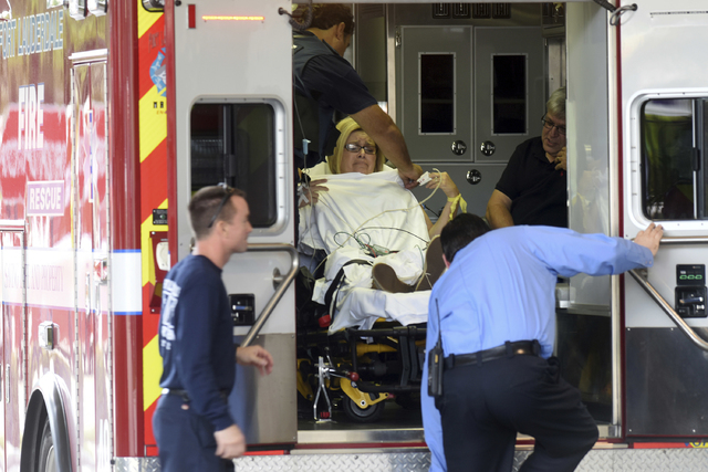A shooting victim arrives at Broward Health Trauma Center in Fort Lauderdale, Fla., Friday, Jan. 6, 2017.   Authorities say a lone shooter opened fire at the Ft. Lauderdale, Florida, international ...