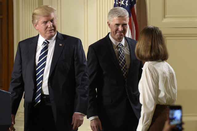 President Donald Trump announces 10th U.S. Circuit Court of Appeals Judge Neil Gorsuch as his choice for Supreme Court Justice during a televised address from the East Room of the White House in W ...
