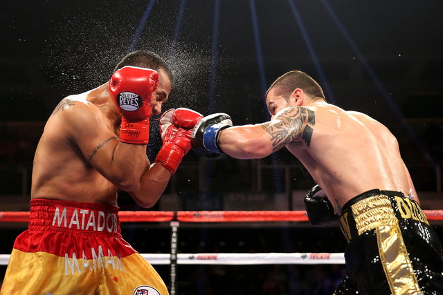 Dejan Zlaticanin (R) punches Franklin Mamani during a Showtime Championship Boxing match at the Turning Stone Casino Events Center on Saturday, June 11, 2016 in Verona, New York.  (Alex Menendez v ...