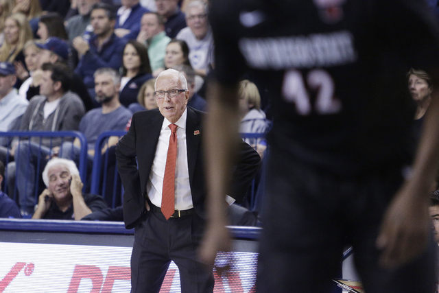 San Diego State head coach Steve Fisher directs his team during the first half of an NCAA college basketball game against Gonzaga in Spokane, Wash., Monday, Nov. 14, 2016. (Young Kwak/AP)