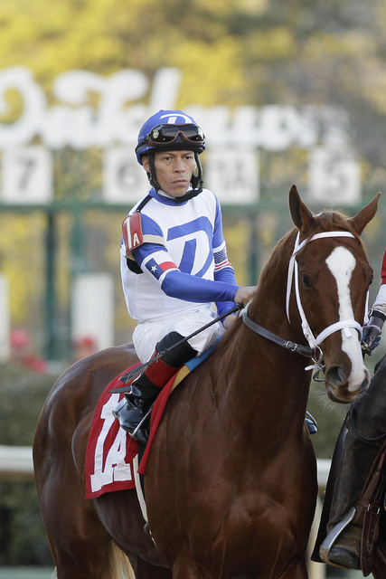 In this photo taken Feb. 17, 2014, jockey Norberto Arroyo Jr., rides Paganol in the post parade before the Southwest Stakes horse race at Oaklawn Park in Hot Springs, Ark. (Danny Johnston/AP)