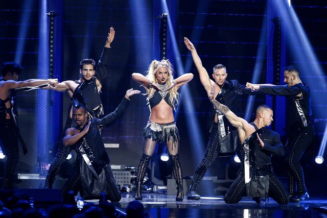 Britney Spears performs at the 2016 iHeartRadio Music Festival at T-Mobile Arena on Sept. 24, 2016, in Las Vegas. (John Salangsang/Invision/AP)