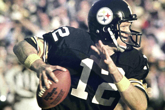 Terry Bradshaw, football player for the Pittsburgh Steelers, is shown, Jan. 20, 1980 in Pasadena, Calif., during the Super Bowl. (AP Photo)