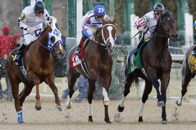 In this photo taken Feb. 17, 2014, Paganol and jockey Norberto Arroyo Jr., center, charge from the gate next to Walt and jockey Ken Tohill, left, and Kendall's Boy with jockey Leandro Goncalves, r ...