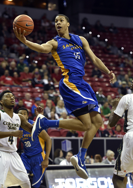 San Jose State's Brandon Clarke (15) shoots against Colorado State during the second half of an NCAA college basketball game at the Mountain West Conference men's tournament Wednesday, March 9, 20 ...