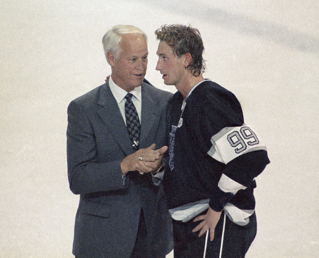 L.A. Kings star Wayne Gretzky is greeted by Gordie Howe in Edmonton, on Oct. 15, 1989 after Gretzky broke Howe's all time scoring record.    Gretzky broke the record by scoring career goal number  ...