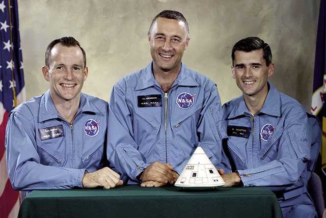 """The Apollo 1 crew, from left, Edward H. White II, Virgil I. """"Gus"""" Grissom, and Roger B. Chaffee. (NASA via AP)"""