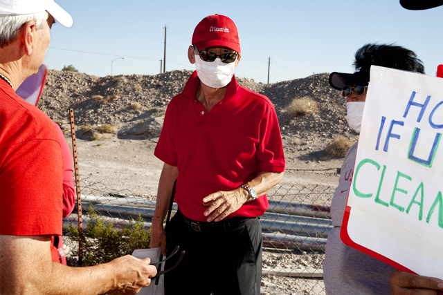 James Yu, of Spring Valley is one of many protesting plans by Wells Cargo to construct a hot mix asphalt plant near Spring Valley High Schoo in Las Vegas on Sunday, October 2, 2016. (Jeferson Appl ...