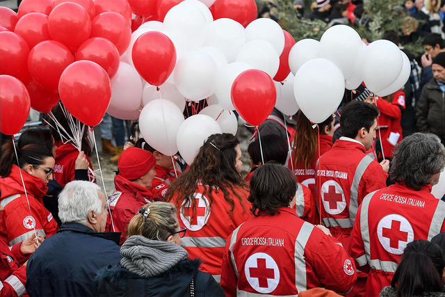 Red Cross volunteers attend the funeral of Gabriele D'Angelo, one of the victims of the avalanche, which buried the Hotel Rigopiano, in Penne, central Italy, Tuesday, Jan. 24, 2017. Fifteen people ...