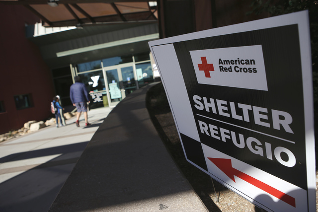 Shelter provided by the American Red Cross on Wednesday, Jan. 25, 2017, at the Centennial Hills Community Center YMCA in Las Vegas.  Clark County announced a voluntary evacuation notice for the Ky ...