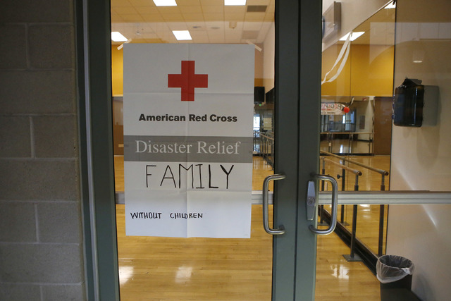 A room at the Centennial Hills Community Center YMCA where families can seek shelter after voluntary evacuation from areas of Mount Charleston on Wednesday, Jan. 25, 2017, in Las Vegas.  Clark Cou ...