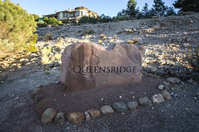A marker identifies Queensridge community at Badlands Golf Course on Wednesday, Oct. 9, 2016. Residents are concerned they will lose their views if the controversial, high-density development is a ...