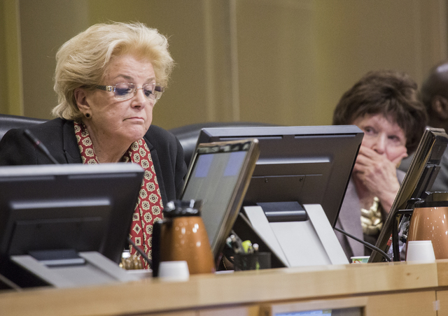 Las Vegas Mayor Carolyn Goodman,left, and council woman Lois Tarkanian before voting at the Las Vegas City Council public hearing on the controversial large-scale development on the Badlands Golf  ...