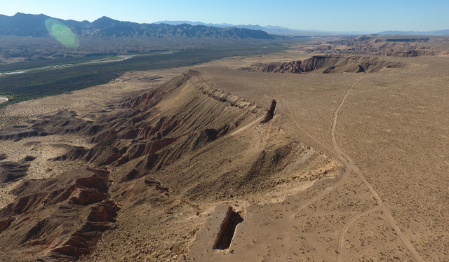 """An aerial view of """"Double Negative"""", an earth sculpture by Michael Heizer on Mormon Mesa just northeast of Logandale, NV on September 15, 2016. Michael Quine/Las Vegas Review-Journal ..."""