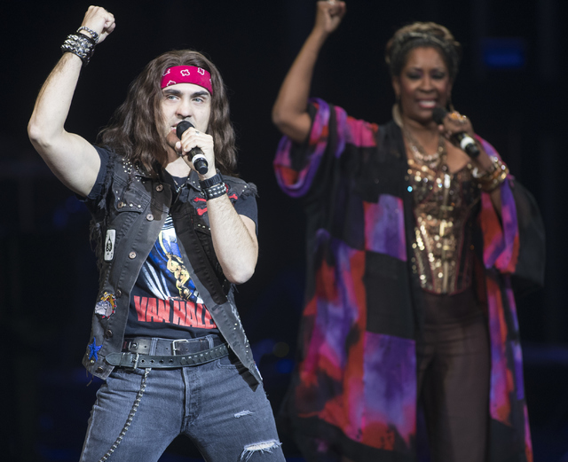 """Paul Johnson, left, and Deidre Lang, from """"Rock of Ages"""" perform during the Best of Las Vegas Show at The Venetian Las Vegas hotel-casino on Saturday, Nov. 5, 2016. Loren Townsley/Las Vegas Review ..."""