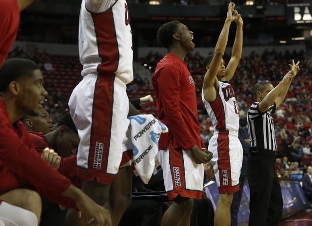 UNLV players cheer on their teammates during the second half of a NCAA college basketball game against Wyoming at the Thomas & Mack Center on Saturday, Dec. 31, 2016, in Las Vegas. UNLV won 81 ...
