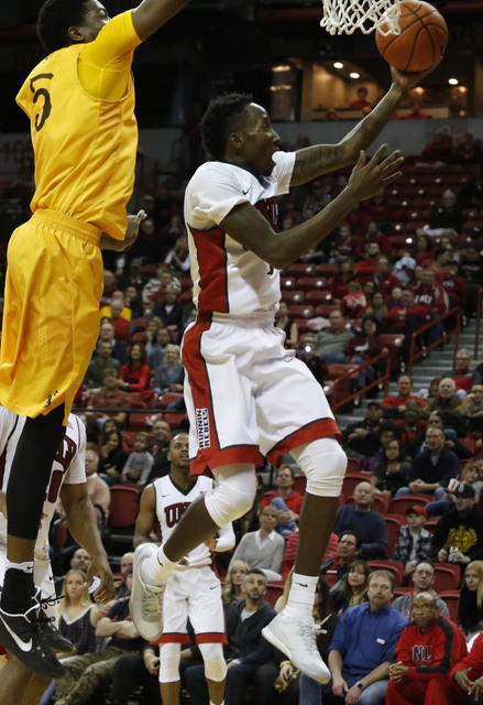 UNLV guard Kris Clyburn (1) shoots a layup during the second half of a NCAA college basketball game against Wyoming at the Thomas & Mack Center on Saturday, Dec. 31, 2016, in Las Vegas. UNLV w ...