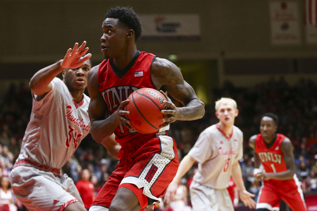 UNLV forward Dwayne Morgan (15) drives towards the basket against Southern Utah during a basketball game at the Centrum Arena in Cedar City, Utah on Wednesday, Nov. 30, 2016. UNLV won 89-81. (Chas ...