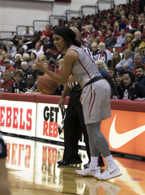 UNLV's Dylan Gonzalez sets up a play during the Lady Rebels game against Utah State at the Cox Pavilion on Jan. 7, 2017. (Heidi Fang/Las Vegas Review-Journal) @HeidiFang