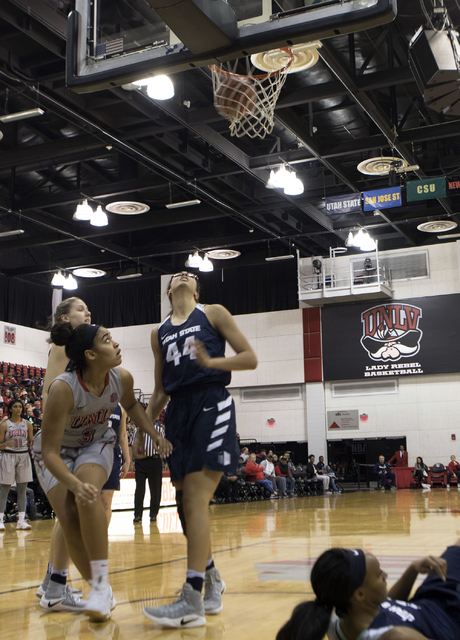 Lady Rebels Paris Strawther watches a basket score during their game against Utah State on Jan. 7, 2017 at the Cox Pavilion. (Heidi Fang/Las Vegas Review-Journal) @HeidiFang