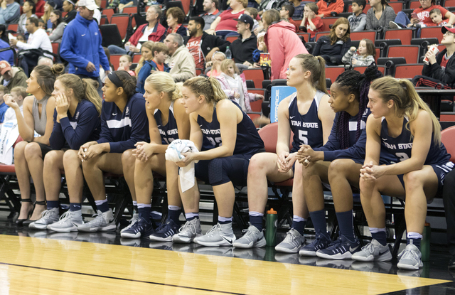 Utah State women's basketball team players watch the action from the bench during their game against the Lady Rebels at the Cox Pavilion on Jan. 7, 2017. (Heidi Fang/Las Vegas Review-Journal) @Hei ...