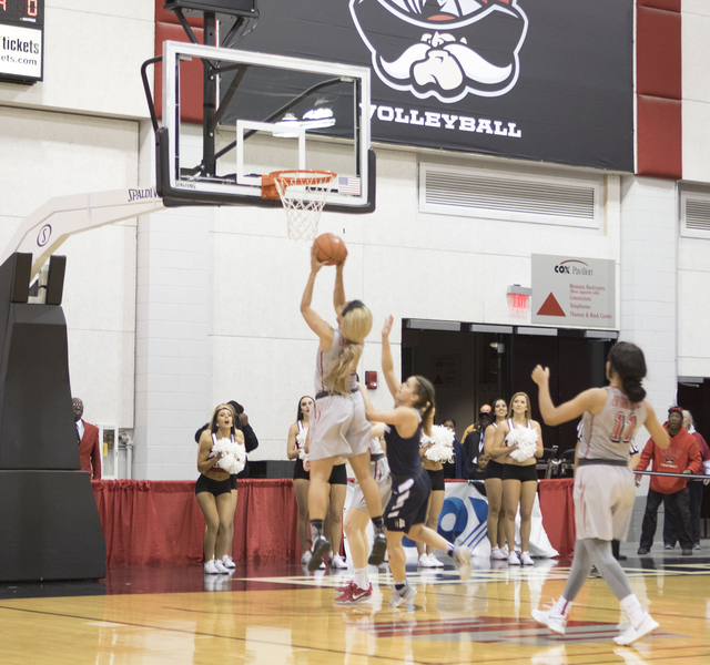 UNLV's Dakota Gonzalez hits the game winning basket in overtime to lift the Lady Rebels over the Aggies, 55-53 at the Cox Pavilion on Jan. 7, 2017. (Heidi Fang/Las Vegas Review-Journal) @HeidiFang