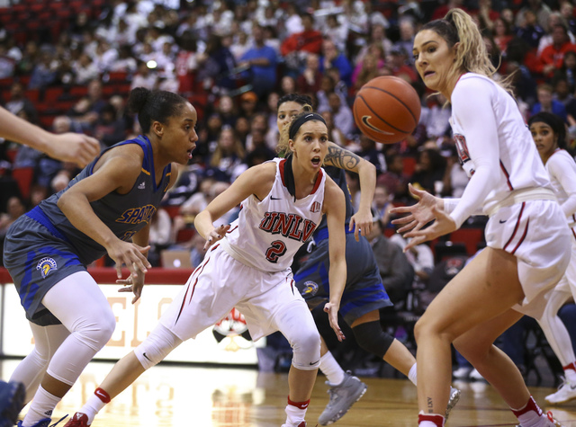 UNLV's Katie Powell (21), right, looks to gain control of the ball as UNLV's Brooke Johnson (2) reacts during a basketball game against San Jose State at the Cox Pavilion in Las Vegas on Saturday, ...