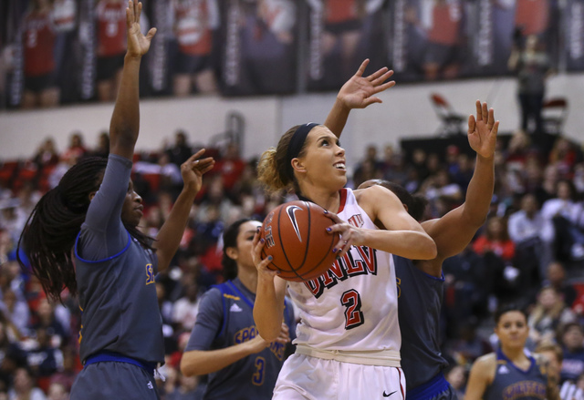 UNLV's Brooke Johnson (2) drives to the basket against San Jose State during a basketball game at the Cox Pavilion in Las Vegas on Saturday, Jan. 28, 2017. San Jose State won 76-65. (Chase Stevens ...