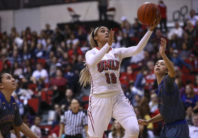 UNLV's Dakota Gonzalez (12) goes up to shoot against San Jose State during a basketball game at the Cox Pavilion in Las Vegas on Saturday, Jan. 28, 2017. San Jose State won 76-65. (Chase Stevens/L ...