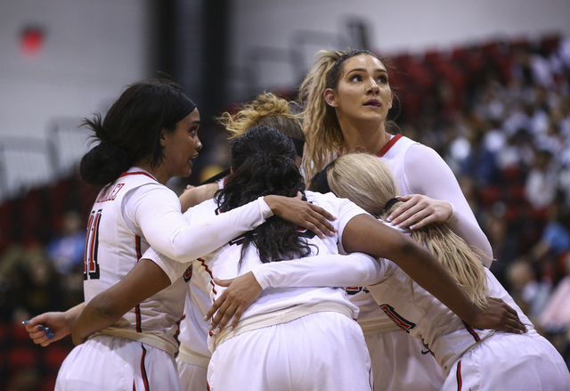 UNLV's Katie Powell (21), upper right, glances up as the team huddles during a basketball game against San Jose State at the Cox Pavilion in Las Vegas on Saturday, Jan. 28, 2017. San Jose State wo ...
