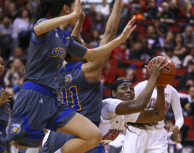 UNLV's Jordyn Bell (23) looks for an open shot against San Jose State during a basketball game at the Cox Pavilion in Las Vegas on Saturday, Jan. 28, 2017. San Jose State won 76-65. (Chase Stevens ...