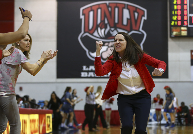 UNLV head coach Kathy Olivier cheers during a basketball game against San Jose State at the Cox Pavilion in Las Vegas on Saturday, Jan. 28, 2017. San Jose State won 76-65. (Chase Stevens/Las Vegas ...