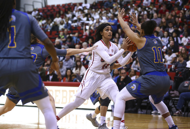UNLV's Dakota Gonzalez (12) drives to the basket against San Jose State during a basketball game at the Cox Pavilion in Las Vegas on Saturday, Jan. 28, 2017. San Jose State won 76-65. (Chase Steve ...