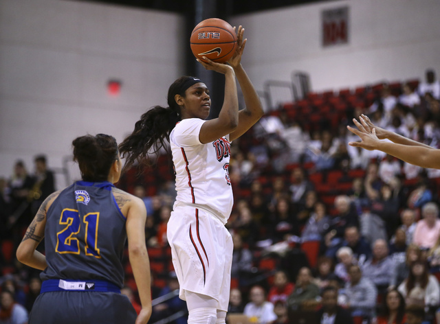 UNLV's Paris Strawther (3) goes up for a shot against San Jose State during a basketball game at the Cox Pavilion in Las Vegas on Saturday, Jan. 28, 2017. San Jose State won 76-65. (Chase Stevens/ ...