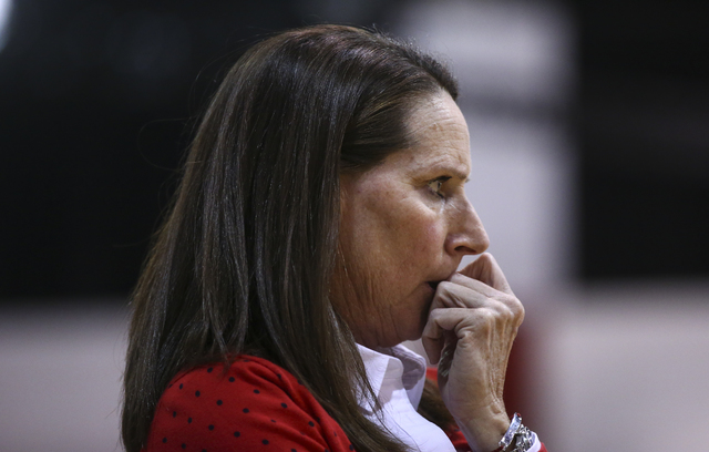 UNLV head coach Kathy Olivier looks on during a basketball game against San Jose State at the Cox Pavilion in Las Vegas on Saturday, Jan. 28, 2017. San Jose State won 76-65. (Chase Stevens/Las Veg ...