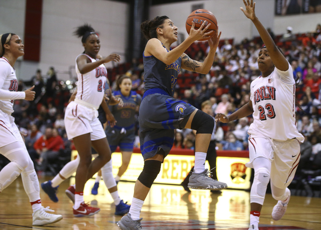 San Jose State guard Dezz Ramos (21) goes up for a shot as UNLV's Jordyn Bell (23) defends during a basketball game at the Cox Pavilion in Las Vegas on Saturday, Jan. 28, 2017. San Jose State won  ...