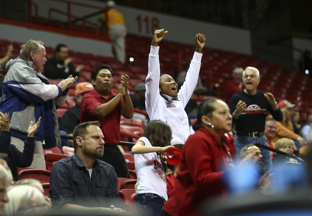 UNLV fans cheer during a basketball game against Wyoming at the Thomas & Mack Center in Las Vegas on Wednesday, Jan. 25, 2017. UNLV won 51-46. (Chase Stevens/Las Vegas Review-Journal) @cssteve ...