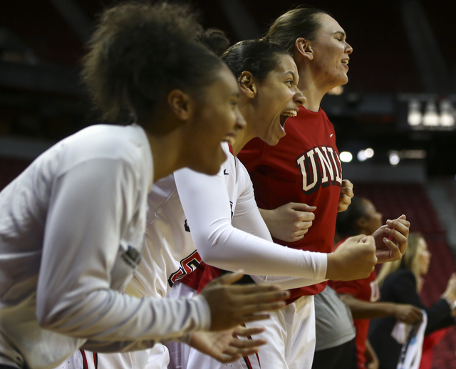 UNLV players cheer from the bench as their team plays Wyoming during a basketball game at the Thomas & Mack Center in Las Vegas on Wednesday, Jan. 25, 2017. UNLV won 51-46. (Chase Stevens/Las  ...