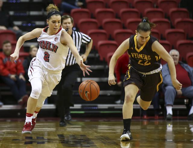 UNLV's Brooke Johnson (2) drives against Wyoming guard Clara Tapia (22) during a basketball game at the Thomas & Mack Center in Las Vegas on Wednesday, Jan. 25, 2017. UNLV won 51-46. (Chase St ...