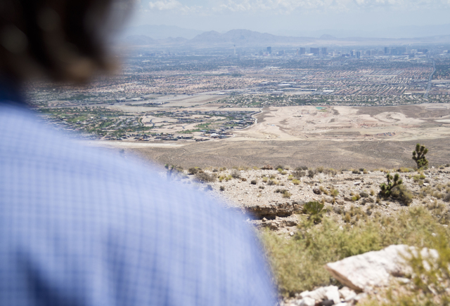 Ron Krater looks at the view from the edge of the site of a proposed community at the Blue Diamond Hill Gypsum mine near the town of Blue Diamond on Thursday, Aug. 11, 2016. Daniel Clark/Las Vegas ...