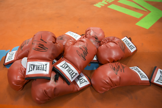 Gloves signed by Las Vegas resident and professional boxer Badou Jack during a media day workout at the Mayweather Boxing Club on Thursday, Jan. 5, 2017, in Las Vegas. Erik Verduzco/Las Vegas Revi ...