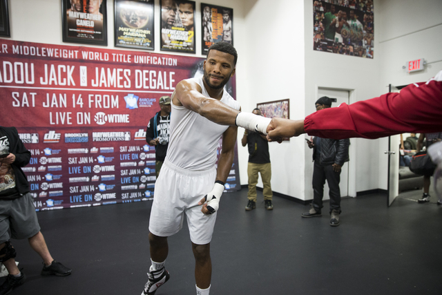 Las Vegas resident and professional boxer Badou Jack during a media day workout at the Mayweather Boxing Club on Thursday, Jan. 5, 2017, in Las Vegas. Erik Verduzco/Las Vegas Review-Journal Follow ...