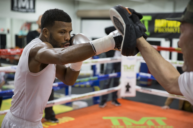 Las Vegas resident and professional boxer Badou Jack during a media day workout at the Mayweather Boxing Club on Thursday, Jan. 5, 2017, in Las Vegas. (Erik Verduzco/Las Vegas Review-Journal) Foll ...
