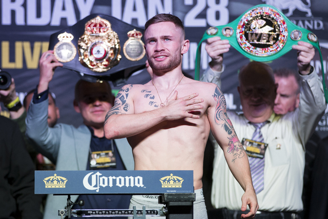 Carl Frampton during a boxing weigh-in event at the MGM Grand Garden Arena on Friday, Jan. 27, 2017, in Las Vegas. Frampton will fight Leo Santa Cruz in the WBA Super World Featherweight Champions ...
