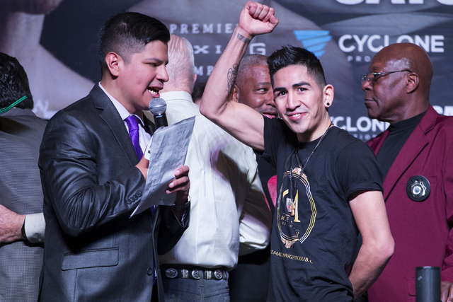 Leo Santa Cruz during a boxing weigh-in event at the MGM Grand Garden Arena on Friday, Jan. 27, 2017, in Las Vegas. Santa Cruz will fight Carl Frampton in the WBA Super World Featherweight Champio ...
