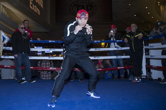 Dejan Zlaticanin during a boxing media workout event at the MGM Grand hotel-casino on Wednesday, Jan. 25, 2017, in Las Vegas. Erik Verduzco/Las Vegas Review-Journal Follow @Erik_Verduzco