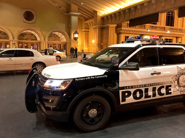 Las Vegas police search the Suncoast hotel-casino for an armed robber who stole items from the MJ Christensen Diamond Center in Boca Park at Rampart and Charleston boulevards in Las Vegas on Frida ...