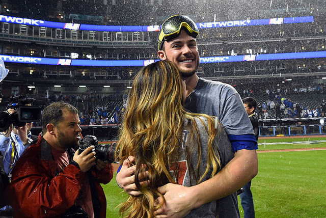 Chicago Cubs third baseman Kris Bryant (17) celebrates after defeating the Cleveland Indians in game seven of the 2016 World Series at Progressive Field. (Tommy Gilligan-USA TODAY Sports)